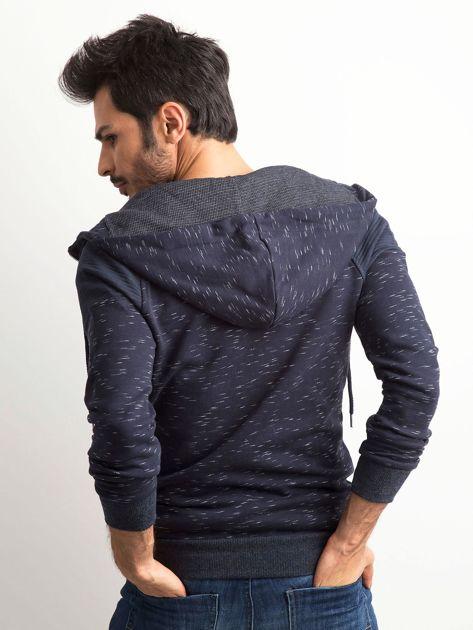 Granatowa melanżowa bawełniana bluza męska z kapturem                              zdj.                              2
