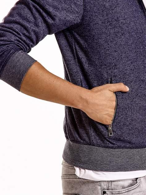 Granatowa melanżowa bluza męska z zasuwanymi kieszeniami                                  zdj.                                  6