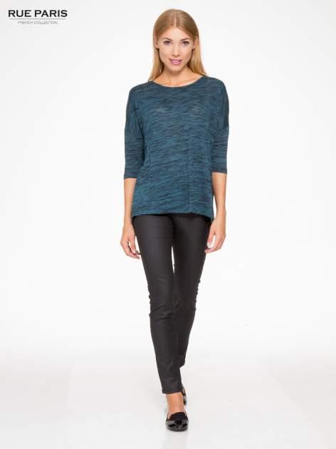 Granatowa melanżowa bluzka o obniżonej linii ramion                                  zdj.                                  2