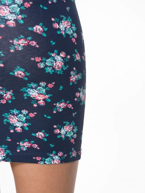 Granatowa mini spódnica tuba w kwiaty                                  zdj.                                  6