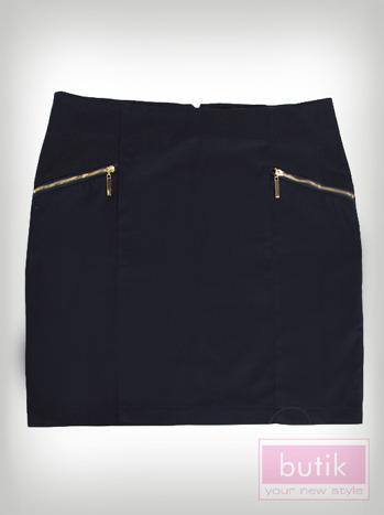 Granatowa mini spódnica z suwakami                                  zdj.                                  2