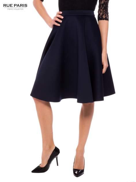 Granatowa neoprenowa spódnica midi szyta z koła                                  zdj.                                  1
