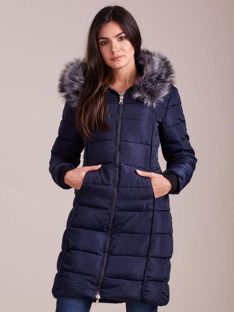 Granatowa pikowana damska kurtka zimowa                               zdj.                              1