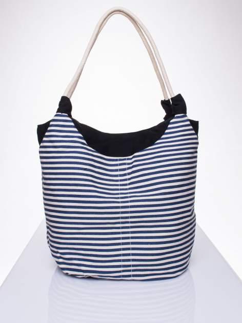 Granatowa plażowa torba hobo w paski na sznurku                                  zdj.                                  1