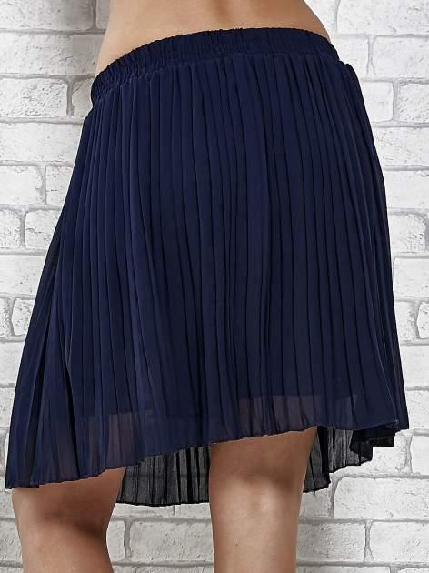 Granatowa plisowana spódnica do kolan                                  zdj.                                  7