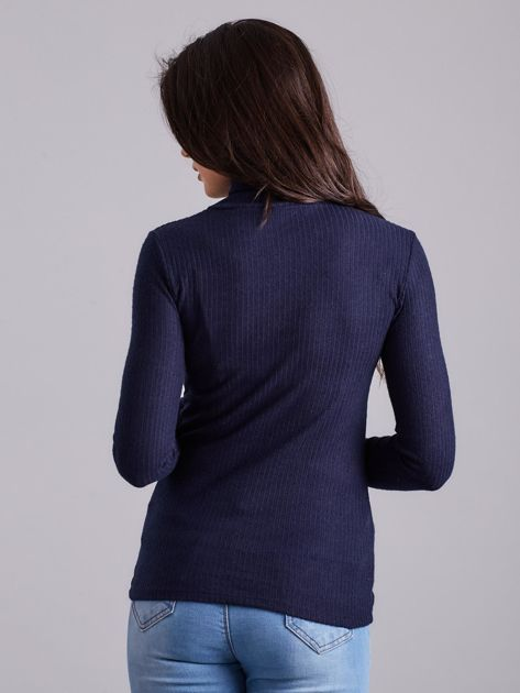 Granatowa prążkowana bluzka z golfem                              zdj.                              2