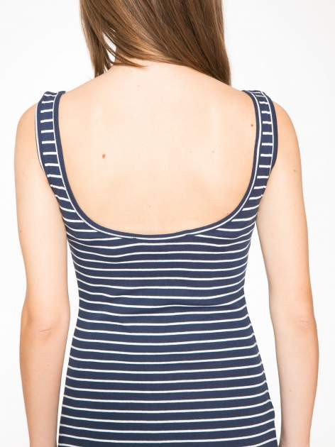 Granatowa prosta długa sukienka w paski z bawełny                                  zdj.                                  5