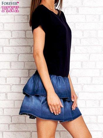 Granatowa sukienka dresowa z jeansowym dołem                                  zdj.                                  3