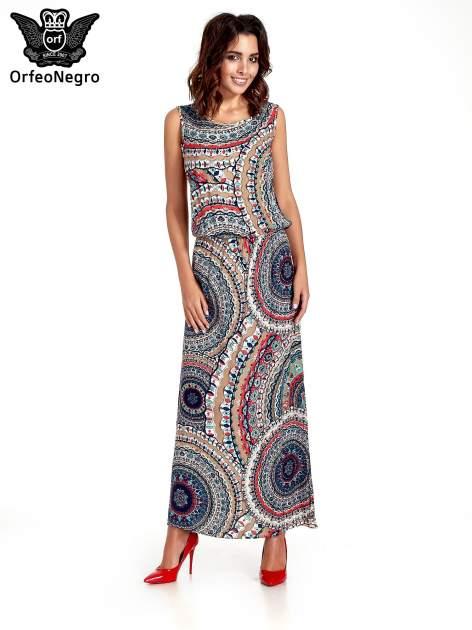 Granatowa sukienka maxi w etniczne wzory                                  zdj.                                  1