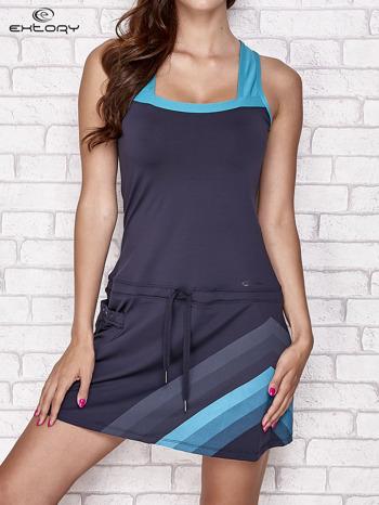 Granatowa sukienka sportowa z niebieskimi wstawkami