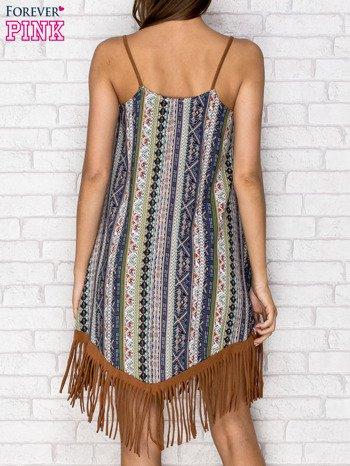 Granatowa sukienka w etniczne wzory z frędzlami                                  zdj.                                  2