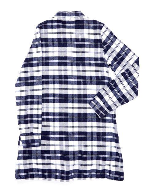 Granatowa sukienka w kratę dla dziewczynki z warstwowymi falbanami                              zdj.                              2