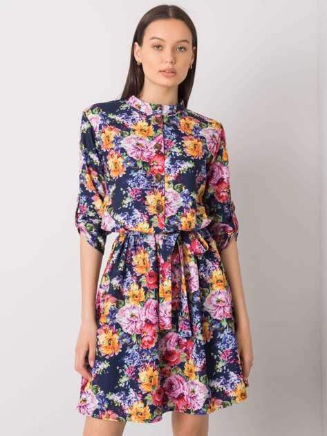 Granatowa sukienka w kwiaty Aggie