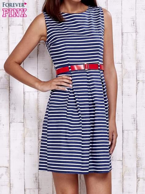 Granatowa sukienka w marynarskim stylu z paskiem                                  zdj.                                  1