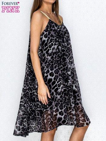 Granatowa sukienka w panterkę na złotych ramiączkach                                  zdj.                                  3