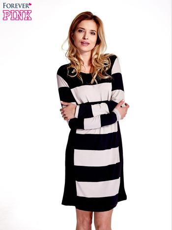Granatowa sukienka w szerokie pasy                                  zdj.                                  1