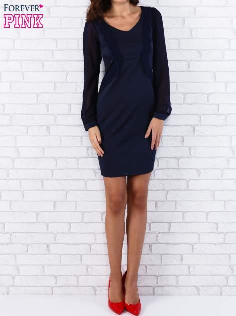 Granatowa sukienka z długimi transparentnymi rękawami                                  zdj.                                  4