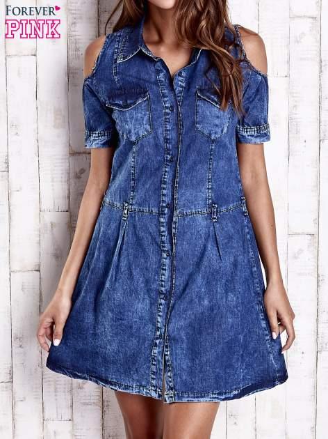 Granatowa sukienka z rękawami cut out                                  zdj.                                  1