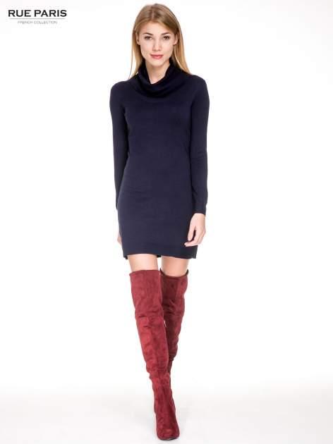 Granatowa swetrowa sukienka z golfem                                  zdj.                                  2