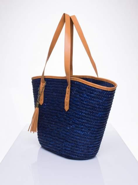 Granatowa torba koszyk plażowy ze skórzanymi rączkami                                  zdj.                                  2