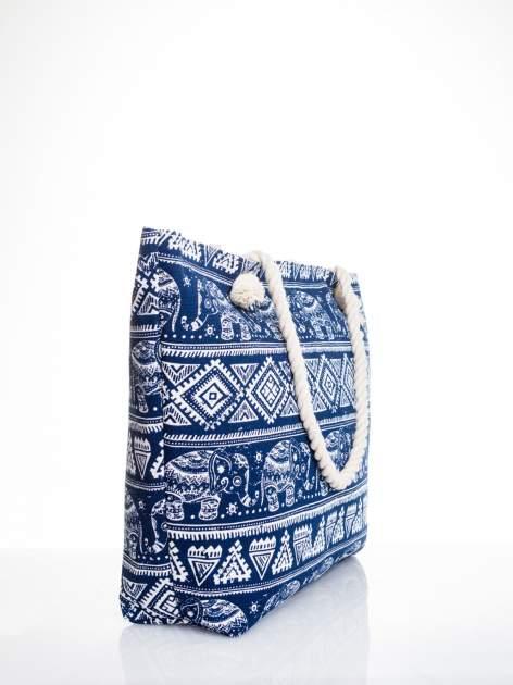 Granatowa torba plażowa w indyjskie wzory                                  zdj.                                  3