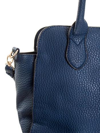 Granatowa torba z klamrami z odpinanym paskiem                                  zdj.                                  7