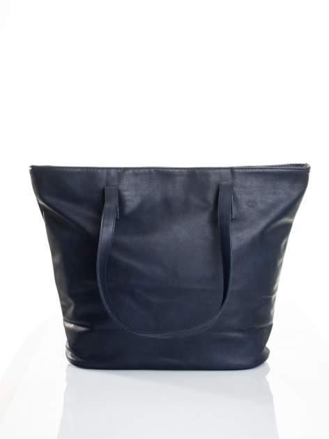 Granatowa torba ze złotym detalem                                  zdj.                                  3