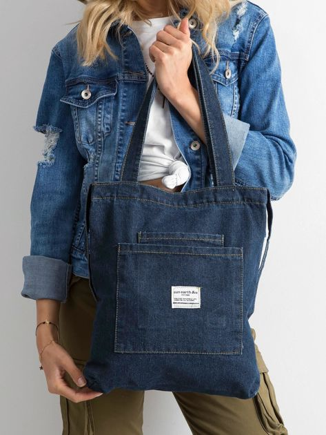 Granatowa torebka jeansowa                              zdj.                              1