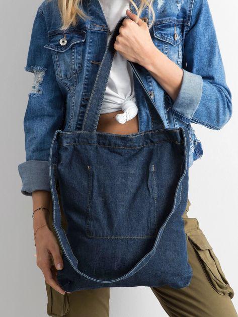 Granatowa torebka jeansowa                              zdj.                              3