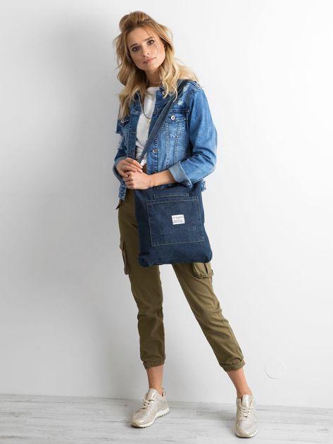 Granatowa torebka jeansowa                              zdj.                              4