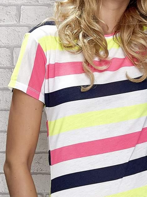 Granatowa tunika w kolorowe pasy                                  zdj.                                  7