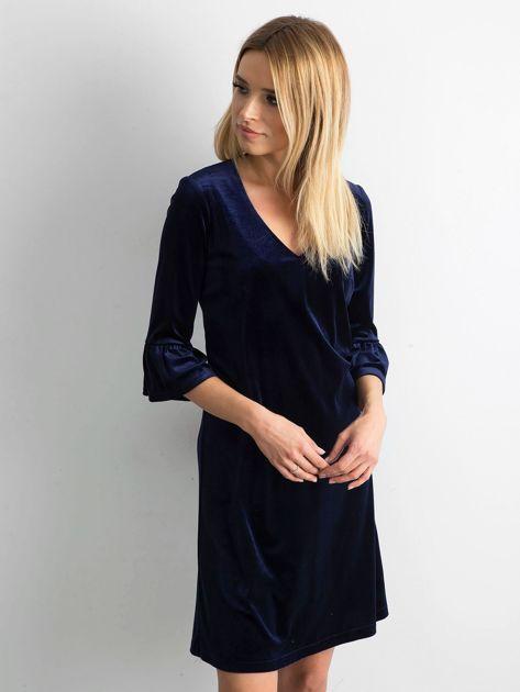 Granatowa welurowa sukienka damska                              zdj.                              3