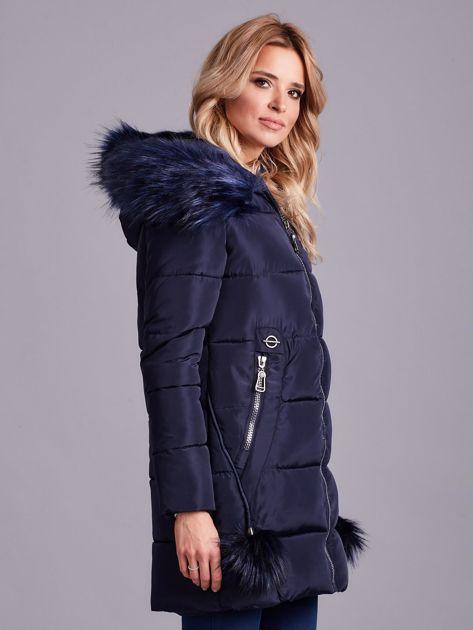 Granatowa zimowa kurtka damska z futerkiem                              zdj.                              6