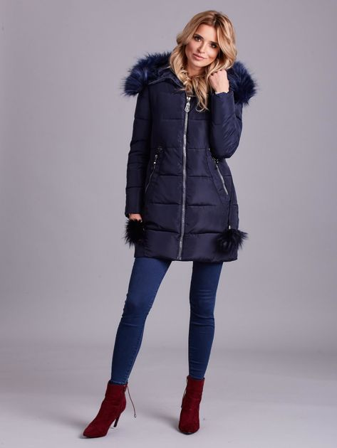 Granatowa zimowa kurtka damska z futerkiem                              zdj.                              5