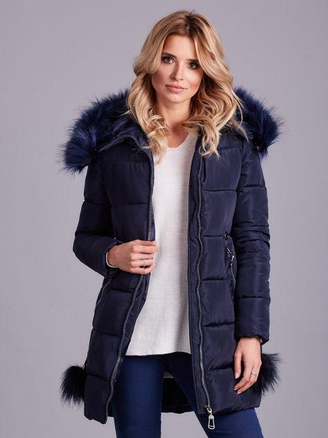 Granatowa zimowa kurtka damska z futerkiem                              zdj.                              1