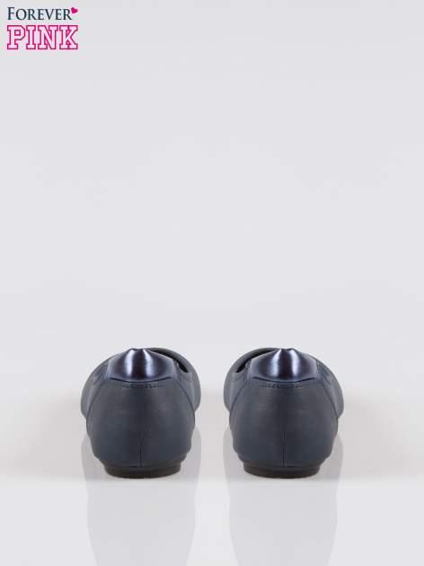 Granatowe baleriny cap toe z metalizowanym efektem                                  zdj.                                  3