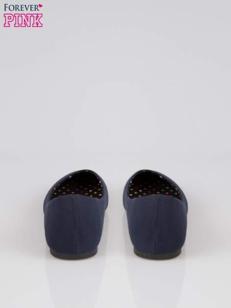 Granatowe baletki z tkaniny                                  zdj.                                  3