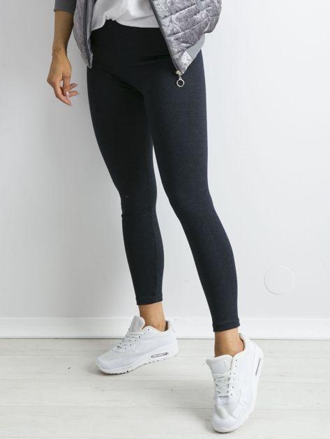 Granatowe bawełniane legginsy z drobinkami                              zdj.                              3