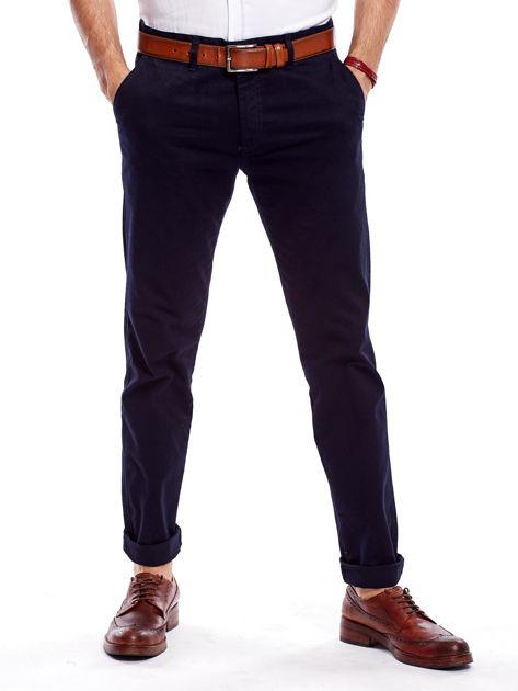 Granatowe bawełniane spodnie męskie                               zdj.                              1