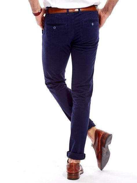 Granatowe bawełniane spodnie męskie chinosy                               zdj.                              7
