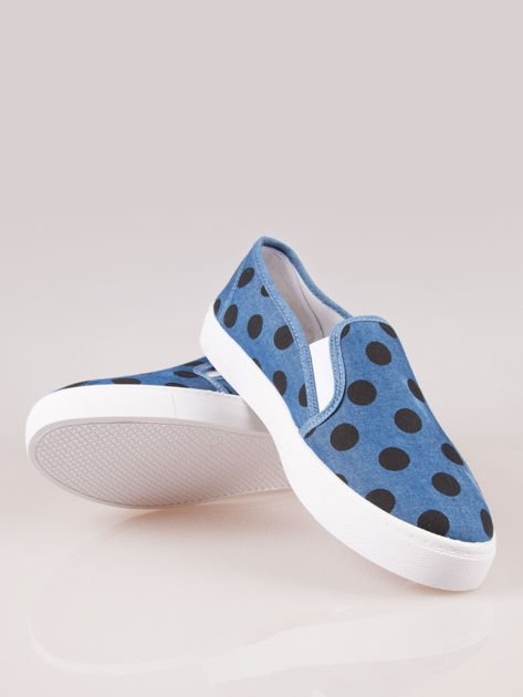 Granatowe buty slip on w groszki                                  zdj.                                  4