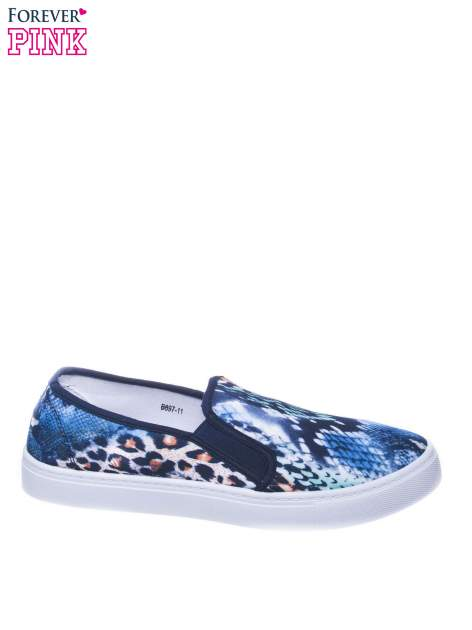 Granatowe buty slip on we wzór animal print                                  zdj.                                  1