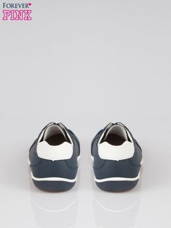 Granatowe buty sportowe faux leather Lucky na granatowej podeszwie                                  zdj.                                  3
