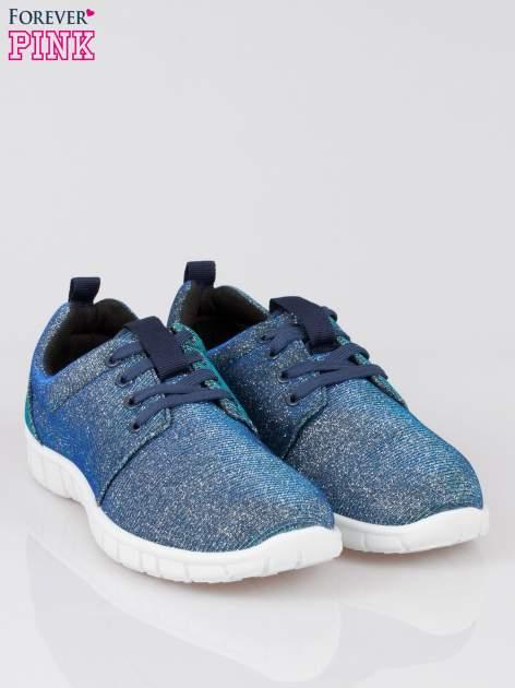 Granatowe buty sportowe textile Diamonds z metaliczną nitką                              zdj.                              2