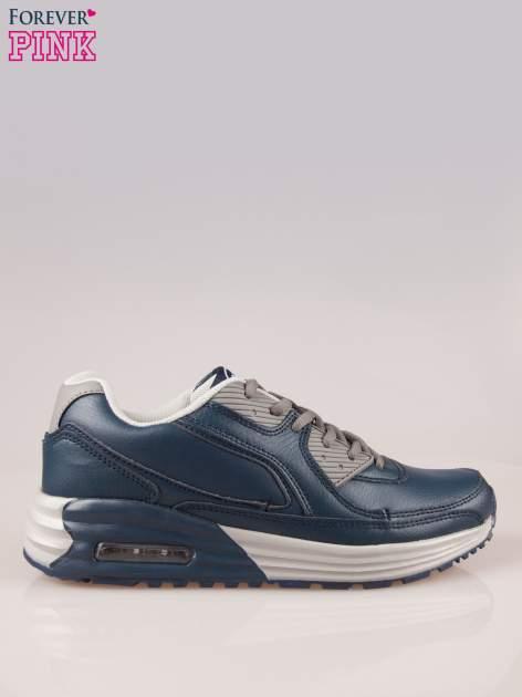Granatowe buty sportowe z poduszką powietrzną w podeszwie