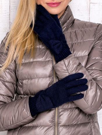 Granatowe długie rękawiczki z kokardą i prążkowanym ściągaczem                                  zdj.                                  1