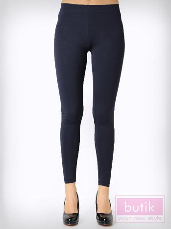 Granatowe gładkie legginsy bawełniane                                  zdj.                                  3