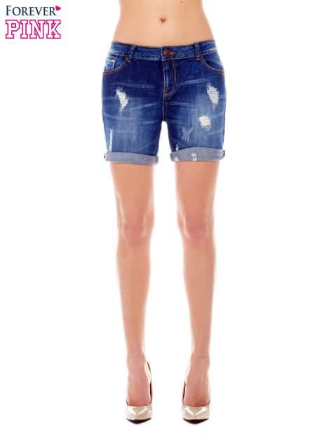 Granatowe jeansowe szorty z podwijanymi nogawkami                                  zdj.                                  1