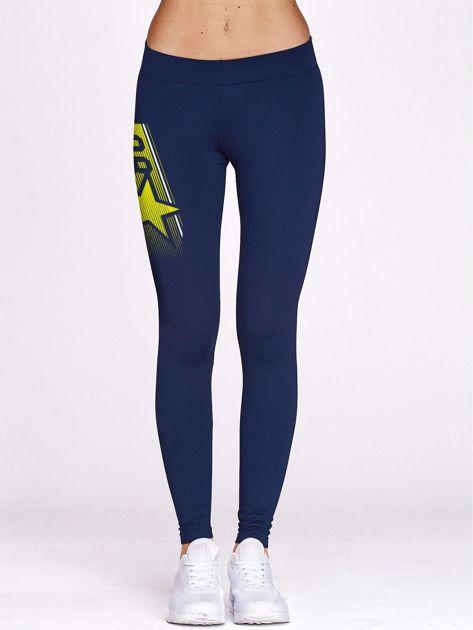 Granatowe legginsy do biegania z nadrukiem gwiazdy                                  zdj.                                  2