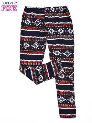 Granatowe legginsy dziewczęce z zimowym wzorkiem